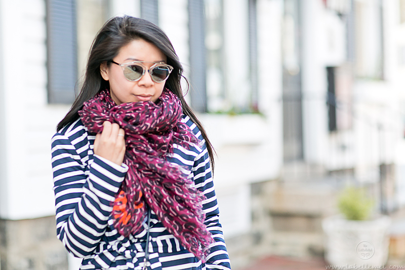 LaBelleMel_Spring_Showers_Navy_Striped_Trench_Aubergine_Leopard_Scarf_4