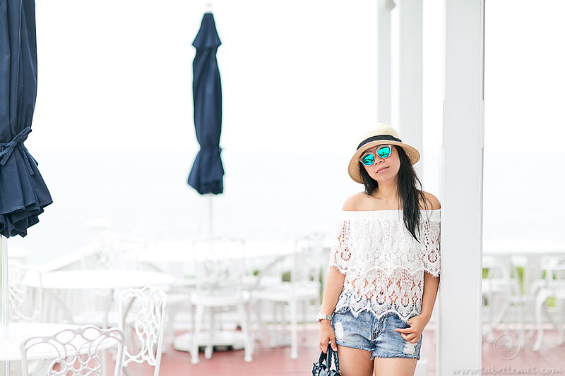 LaBelleMel_Block_Island_Road_Tripping_Chevy_Volt_Lace_Off_Shoulder_Top_Cutoff_Shorts_1
