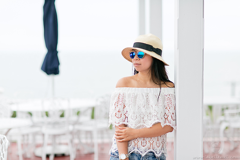 LaBelleMel_Block_Island_Road_Tripping_Chevy_Volt_Lace_Off_Shoulder_Top_Cutoff_Shorts_2