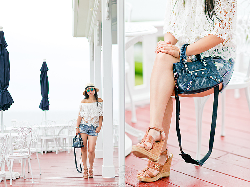 LaBelleMel_Block_Island_Road_Tripping_Chevy_Volt_Lace_Off_Shoulder_Top_Cutoff_Shorts_3
