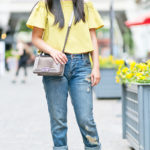 Hello Yellow | Off the Shoulder Top + Ripped Girlfriend Jeans