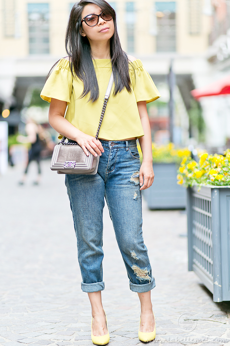 LaBelleMel_Mellow_Yellow_Off_Shoulder_Top_Ripped_Girlfriend_Jeans_1