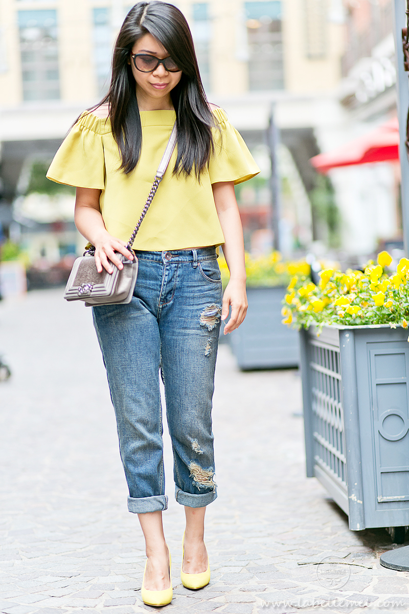 LaBelleMel_Mellow_Yellow_Off_Shoulder_Top_Ripped_Girlfriend_Jeans_2