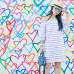 Follow Your Heart | Off-Shoulder Striped Sheath Dress