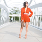 Summer to Fall | Tangerine Romper + Gold Leopard Details