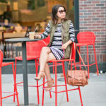 Autumn Layers | Bold Striped Dress + Army Green Sleeveless Jacket