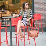 Autumn Layers | Bold Striped Dress + Army Green Sleeveless Jacket