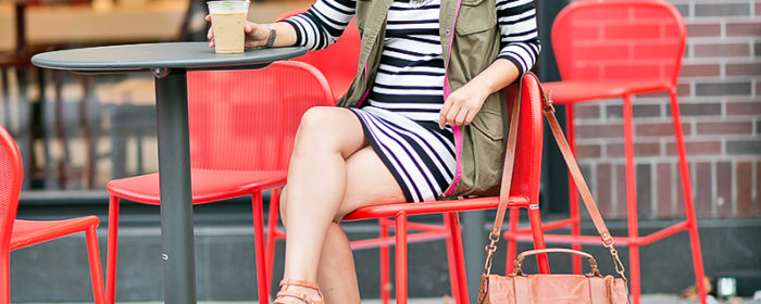 labellemel_autumn_layers_bold_striped_dress_army_green_vest_1