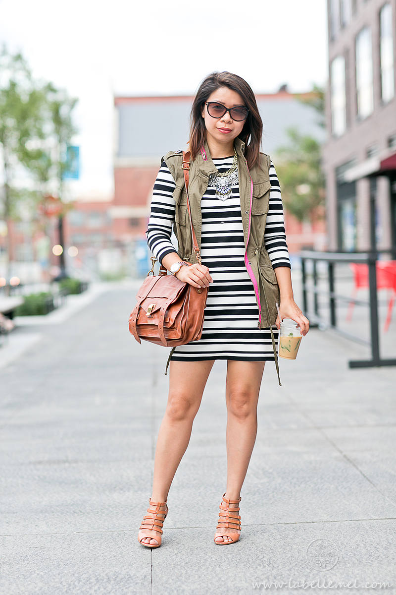 labellemel_autumn_layers_bold_striped_dress_army_green_vest_5