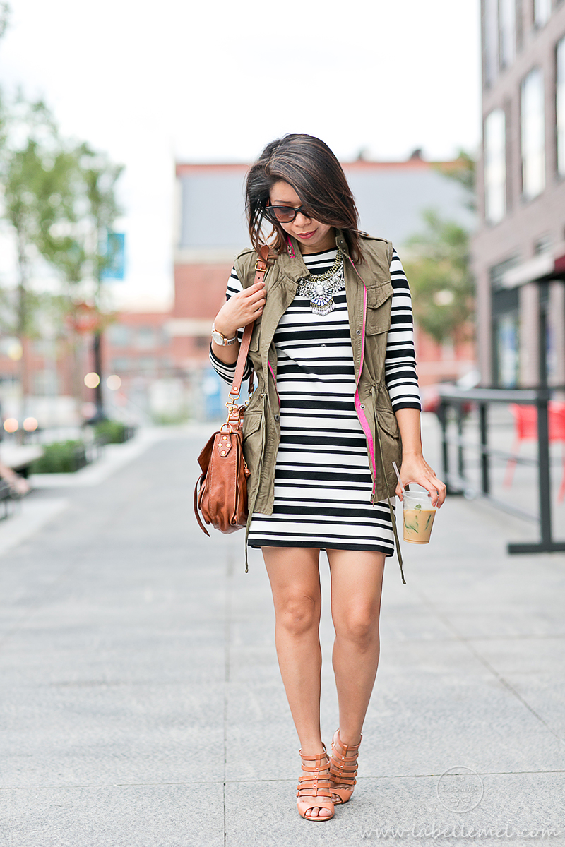labellemel_autumn_layers_bold_striped_dress_army_green_vest_6