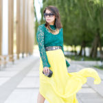Jewel Tone Hues | Emerald Lace Top + Citrine Maxi Skirt