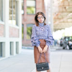 Workwear Wednesday | Gingham Ruffled-Sleeved Top + Cognac Leather Pencil Skirt
