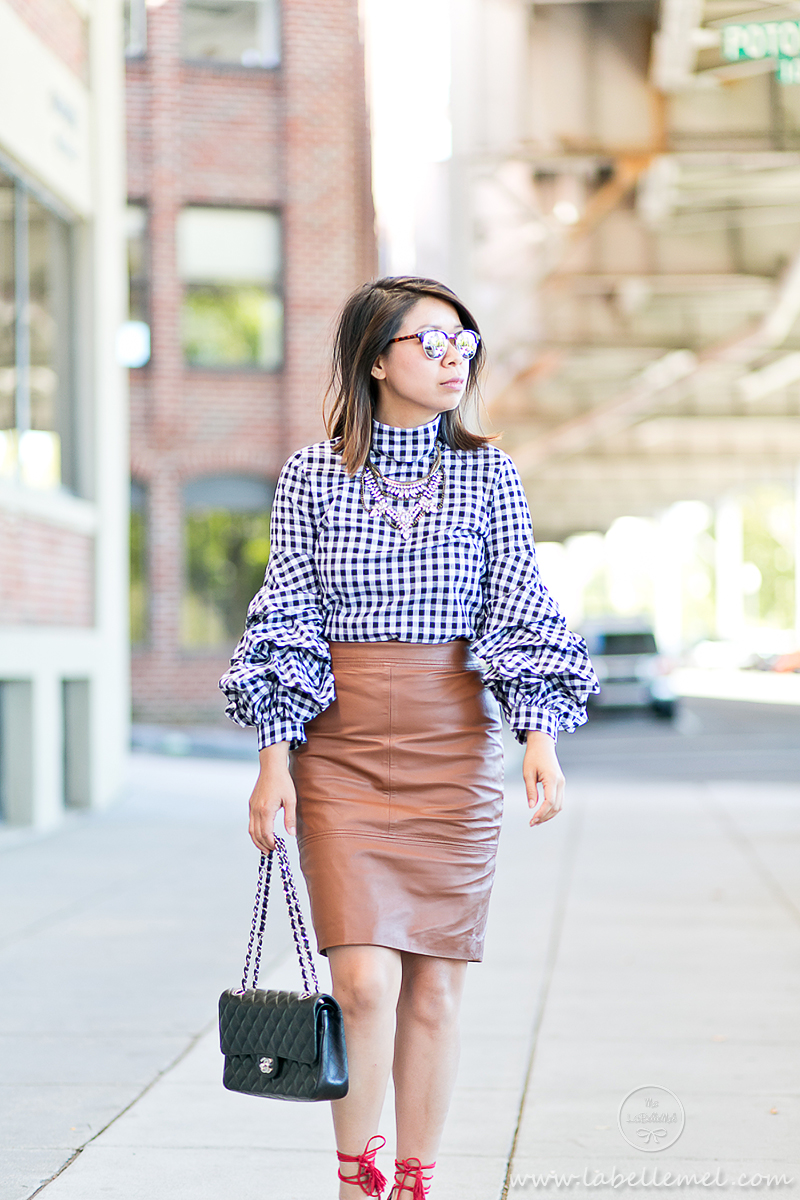 labellemel_workwear_wednesday_gingham_ruffled_sleeves_cognac_leather_pencil_skirt_2