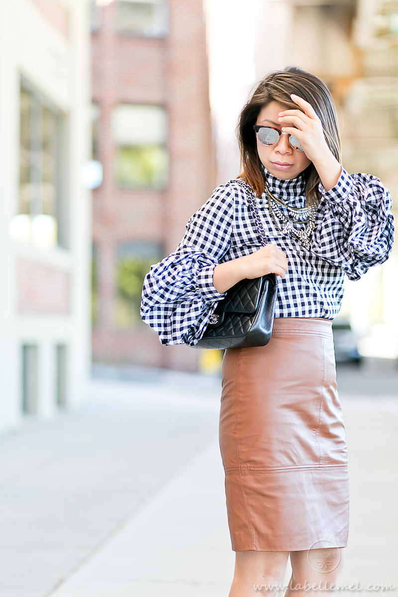 labellemel_workwear_wednesday_gingham_ruffled_sleeves_cognac_leather_pencil_skirt_3