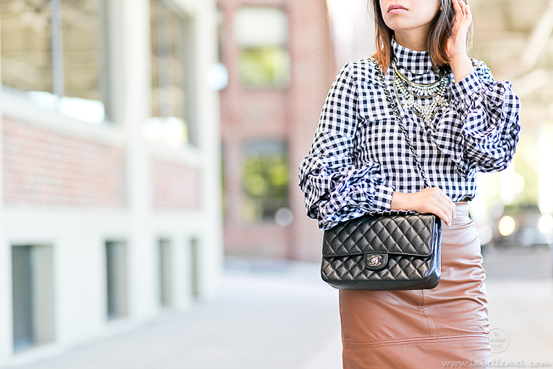 labellemel_workwear_wednesday_gingham_ruffled_sleeves_cognac_leather_pencil_skirt_4