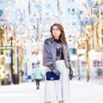 Holiday Blues | Metallic Skirt + Velvet Crossbody Bag