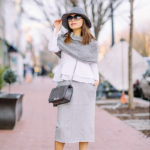 Eastern Market DC | Double Layer Peplum Top + Sweatshirt Pencil Skirt