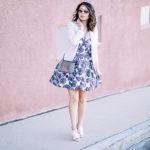 Pretty in Pink | Rose Print Dress + Blush Blazer