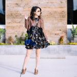 LA Winter   Mixed Media Jacket + Floral Dress
