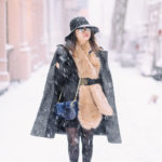 NYC Winter Wonderland | Marled Long Coat + Faux Fur Stole