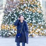 Winter Favorites   Hunter Green Peplum + Blue Velvet Crossbody Bag