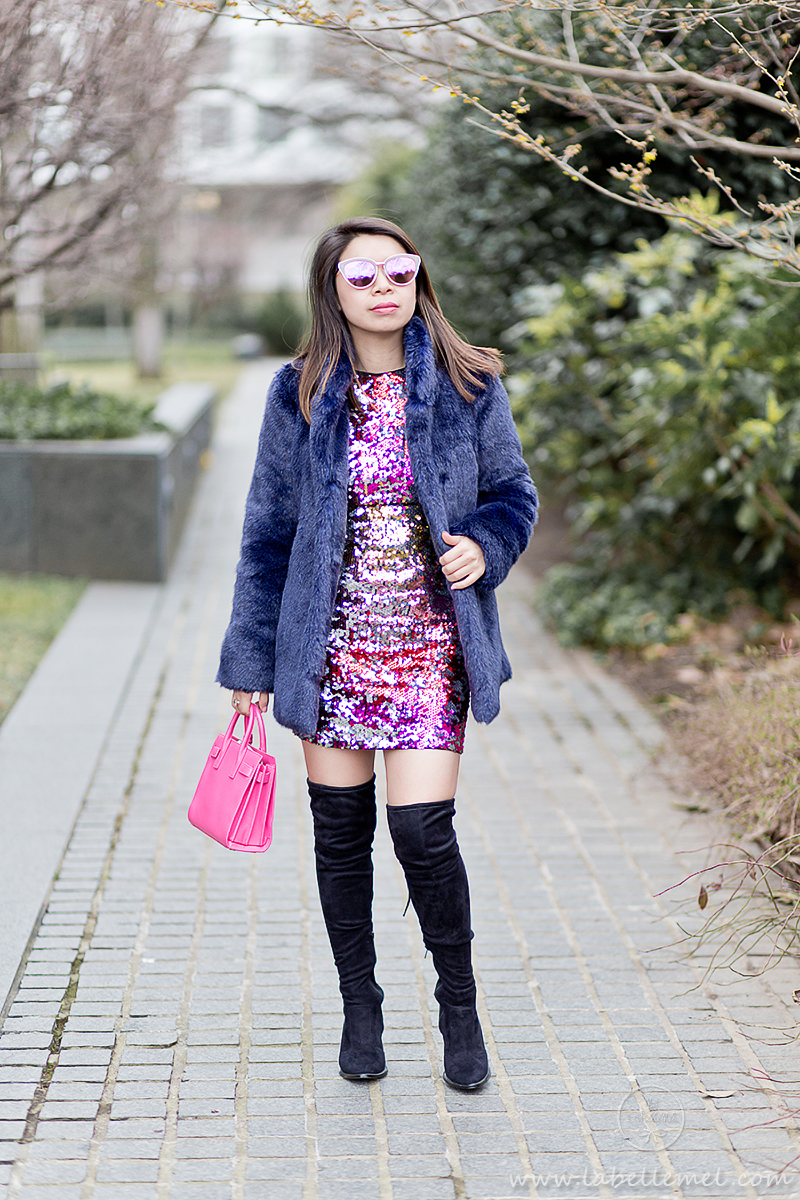 my funny valentine | navy faux fur coat + ombre pink sequin dress