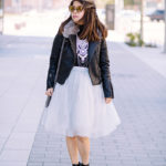 Hey Stella | Vegan Leather Jacket + Grey Tulle Skirt