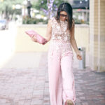 Summer Romance | Lace Crochet Top + Blush Satin Pants