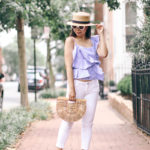 Summer Lovin' | Ruffled One-Shoulder Top + White Skinnies