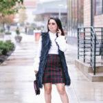 Winter Textures | Navy Faux Fur Vest + Burgundy Velvet Accents
